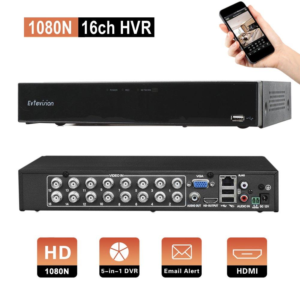 Evtevision 防犯録画機 AHD DVR ビデオレコーダー 16チャンネル 1080N AHD/TVI/CVI/CVBS/Onvif IP 5-in-1,DVR/NVR/HVR防犯レコーダー スマホ遠隔監視対応 日本語システム(HDDなし) B072MMFR8Z 1080N DVR|16CH(HDDなし) 16CH(HDDなし) 1080N DVR