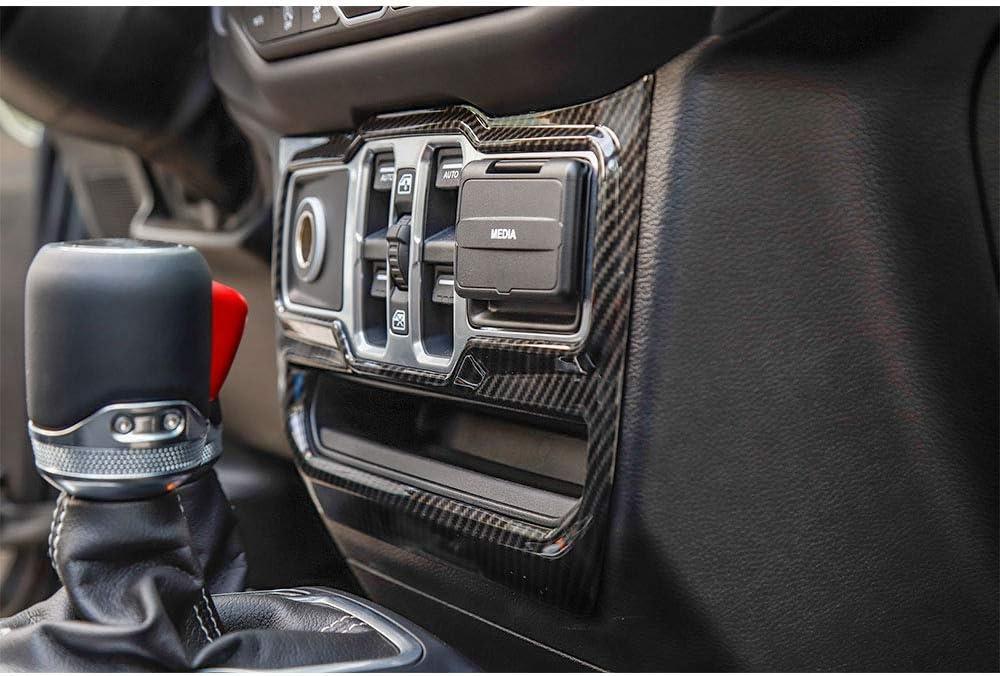 Car Center Control Window Button Panel Trim Cover Decoration Frame for Jeep Wrangler JL 2018+ Carbon Fiber