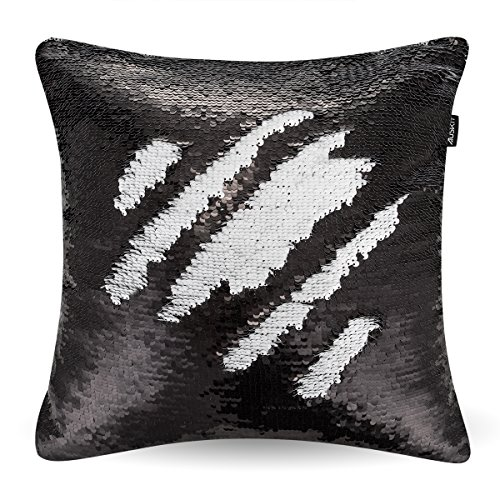 Black And White Decorative Pillow Cases : Reversible Sequins Mermaid Pillow Case - Two Colors Throw - Import It All
