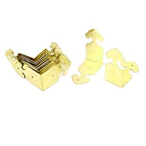 Corner Braces Angle Brackets 45mm x 22mm x 45mm 10 Pcs Brass Tone