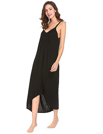 e48a7f1387 Ekouaer Womens Sleeveless Long Nightgown Summer Slip Night Dress Cotton  Sleepshirt Chemise