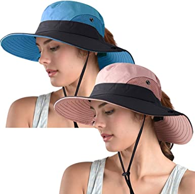 4 Pieces Women Summer Sun Hats UV Protection Mesh Wide Brim Bucket Hats Foldable Beach Fishing Caps with Ponytail Hole for Outdoor Sports