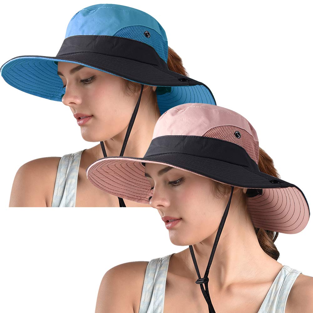 Women's Ponytail Safari Sun Hat,Wide Brim UV Protection Outdoor Bucket Hat,Foldable Beach Summer Fishing Hat