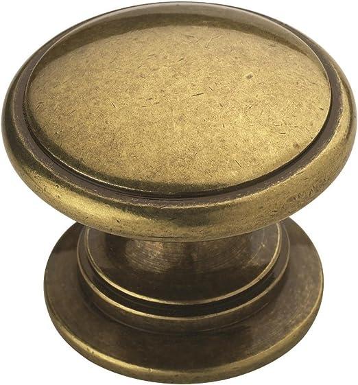 8 Knobs Pulls Round Brass Pedestal Drawer Cabinet Heavy Vintage Retro AMEROCK