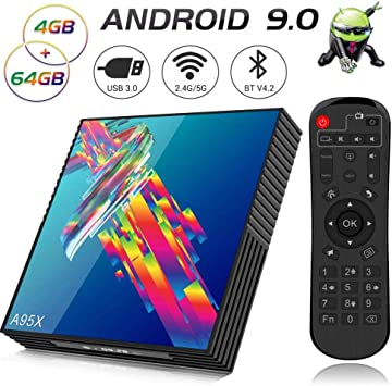 Android 9.0 TV Box, A95X R3 4GB RAM 64GB ROM Smart TV Box with RK3318 Quad-Core 64bit CPU Supports 2.4G/5G Dual WiFi 3D 4K Ultra HD H.265 USB 3.0 BT4.2: Amazon.es: Electrónica