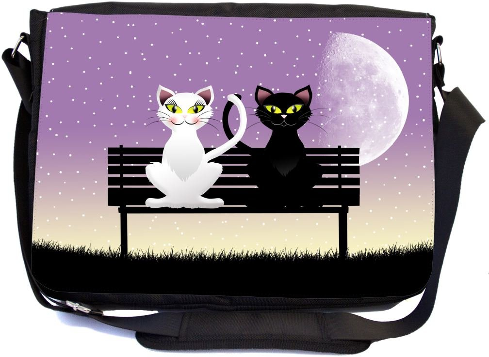 Rikki Knight Black Cat and White Cat in Love on Park Bench Design Multifunctional Messenger Bag - School Bag - Laptop Bag - with Padded Insert for School or Work - Includes Matching Compact Mirror