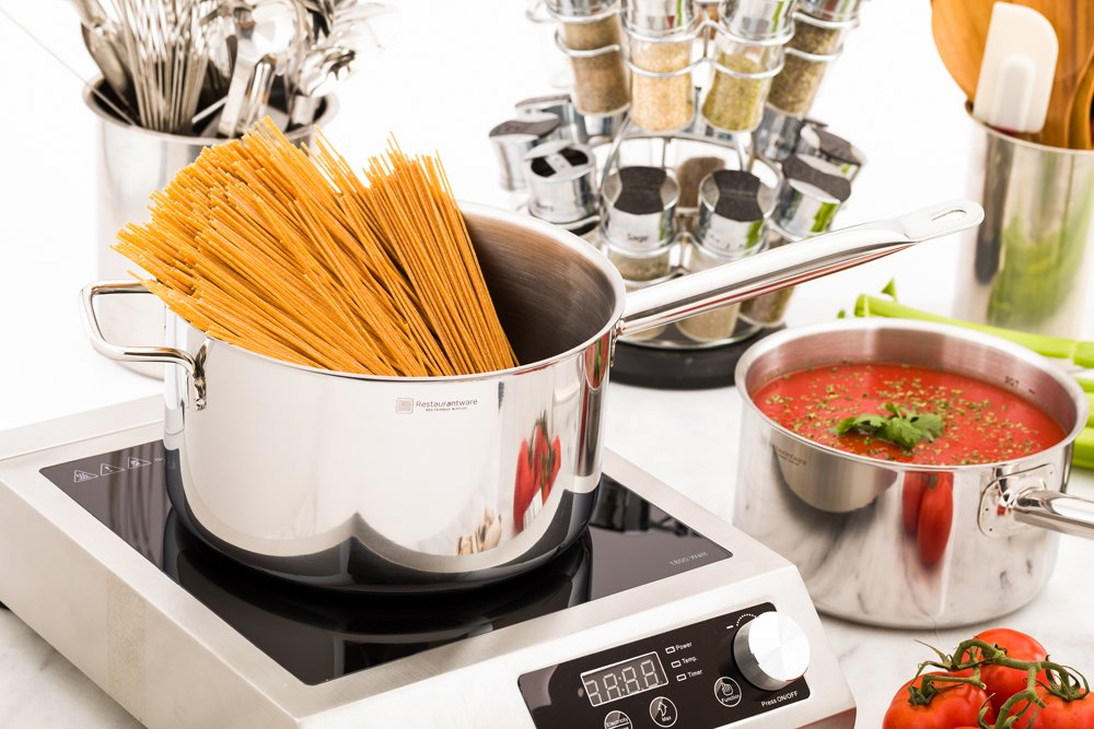 Restaurantware RWT0012 Met Lux 7.5 Quart Reinforced Induction Ready Dual Handle Sauce Pan Stainless Steel 1 count box 7.5qt,