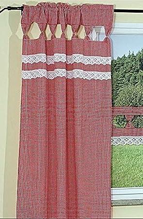 tischdecken-iris-shop GARDINEN Hossner Gardine Schal Übergardine Landhaus  Rot Weiß klein KARIERT Häkelspitze Handarbeit (Seitenschal 90x180 cm)
