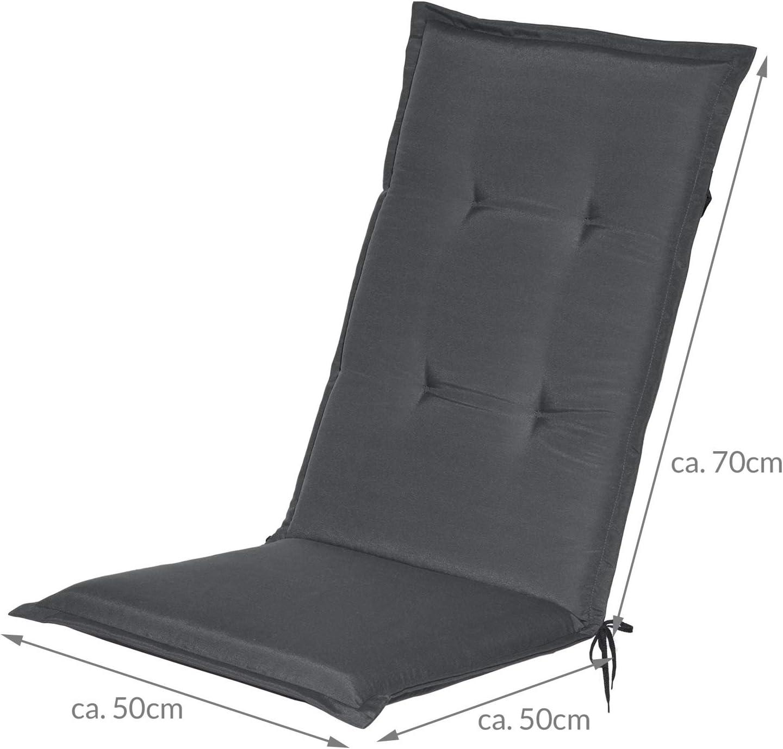 Beautissu 6er Set Loft HL Hochlehner Auflagen Set dunkelblau 120x50 cm Sitzkissen Gartenstuhlauflage Schaumkern-F/üllung mit Oeko-Tex UV Lichtecht