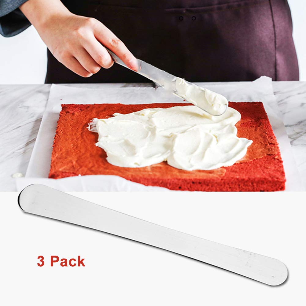 Stainless Steel Angled Icing Spatula with Polypropylene Handle, Icing Tool for Cakes Decorating, Set of 3 (19cm)