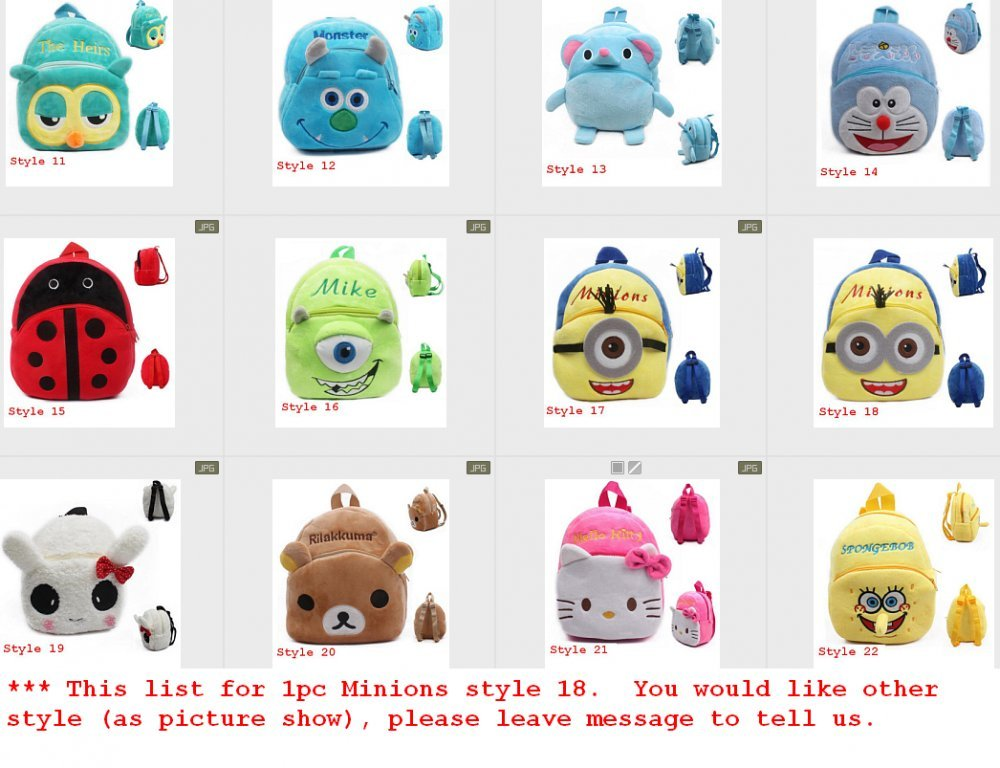 ... backpack toys mini schoolbag Childrens gifts kindergarten boy girl baby student bags lovely Mochila barn gave legetøj (1pc, Minions style 18) : Baby