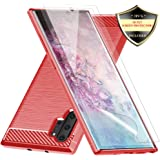 Galaxy Note 10 Plus Case with Screen Protector,Dahkoiz Shock Absorption Galaxy Note 10 Plus 5G Case Slim TPU Bumper Cover Lightweight Protective Phone Case for Samsung Galaxy Note10 Plus/5G/Pro,Red