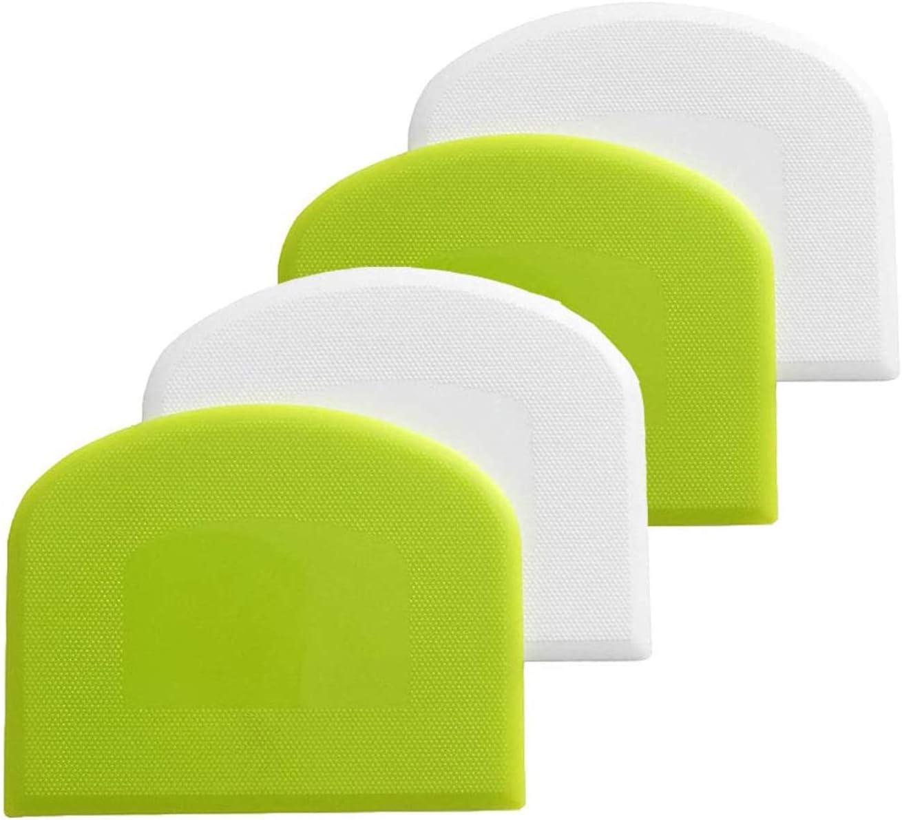 4 Pcs Dough Scrapers Plastic Flexible Bowl Scraper, Food safe Grade Bench Practical Scraper Plastic Multipurpose Dough Cutter for Ice Cream, Bread, Cake, Fondant, Pizza (2 Green + 2 White)