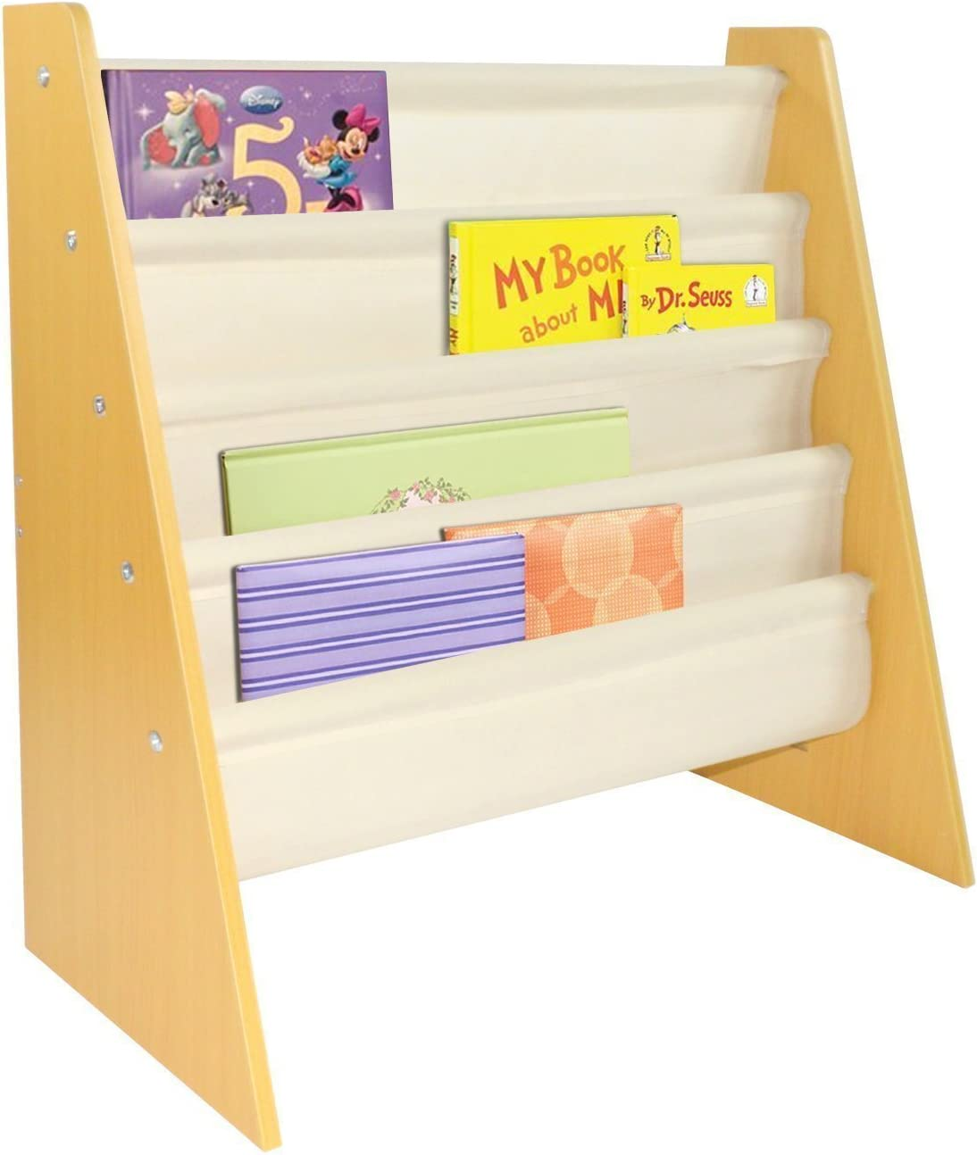 Pidoko Kids Sling Bookcase Wooden Children s Bookshelf with Pocket Storage Book Rack Natural