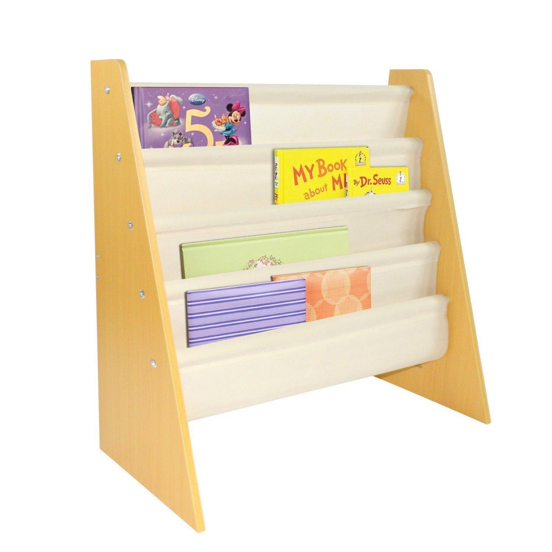 Pidoko Kids Sling Bookcase | Wooden Children's Bookshelf with Pocket Storage Book Rack (Natural)