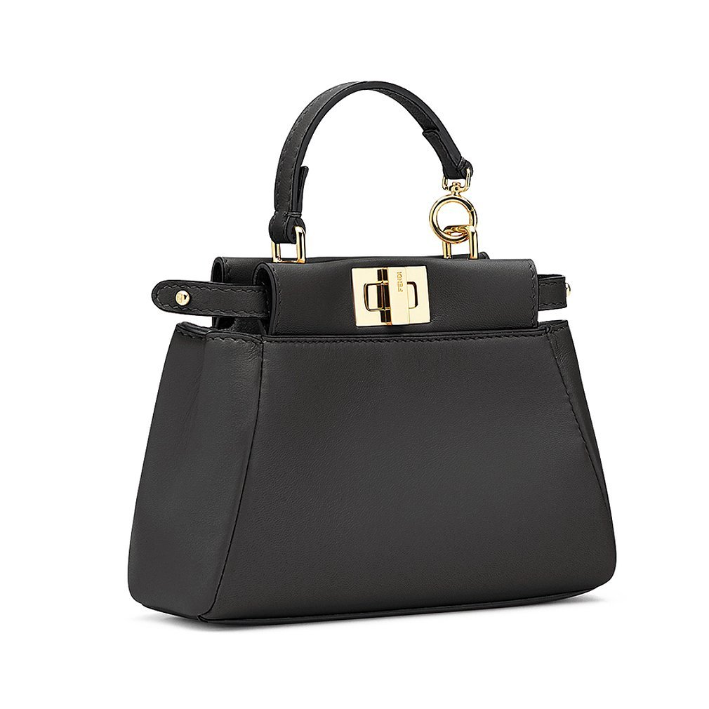 Fendi Micro Peekaboo Black Leather Handbag Made in Italy  Handbags   Amazon.com e358e50572a8a