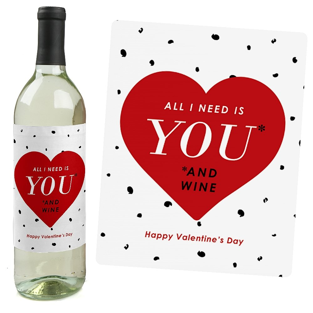amazoncom valentines day wine bottle labels set of 4 bar tools glasses - Valentines Day Wine