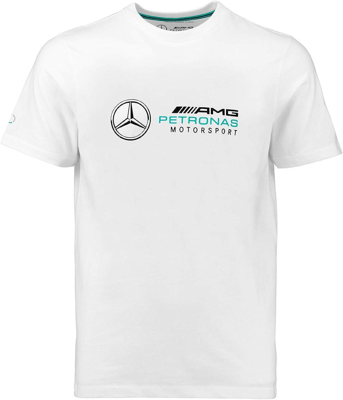 S, Black Mercedes Benz AMG Petronas F1 Mens Large Logo T-Shirt Black//Gray//White