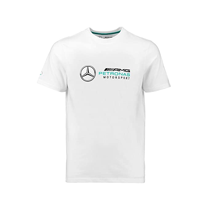Front White or Grey Back and Arm logo AMG Mercedes Benz Style T-Shirt Black