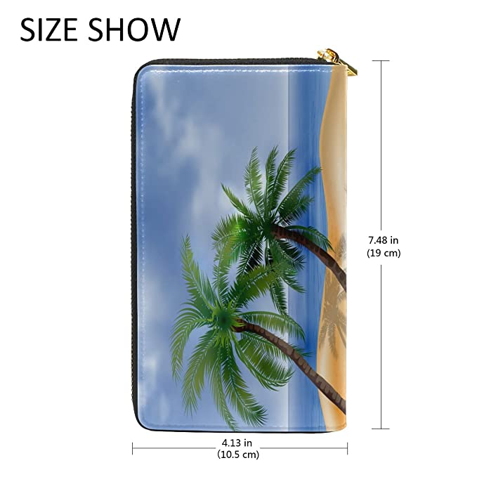 Coconut Tree Beach Purse Genuine Clutch Wallets Zip Long Leather Handbags Womens at Amazon Womens Clothing store:
