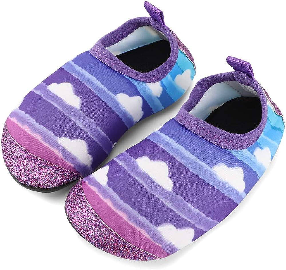 TIZAX Chaussures Aquatiques pour B/éb/é Chaussures Antid/érapant deau pour Enfant Filles Chaussons S/échage Rapide pour Plage Piscine Natation