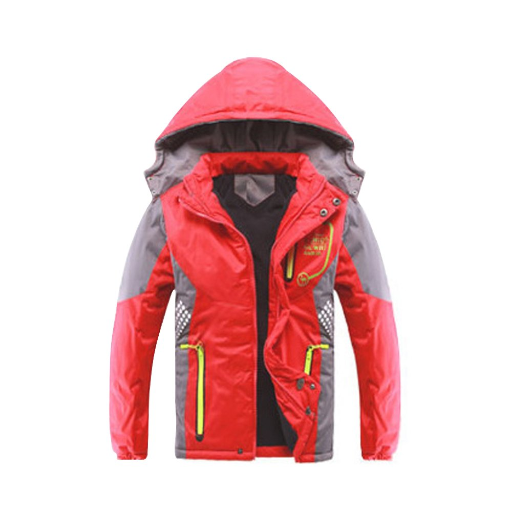 Back to School Boys and Girls Kids Thicked Warm Windproof Jacket with Hood, Taped Seams and Zip up Pockets Age of 3-10 LBFR2-CFY-04