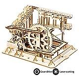ROBOTIME 3D Wooden Craft Kits Brain Teaser Games Mechanical Gears Set Cog Coaster with Steel Balls Best Buliding Toys for Adutls & Kids