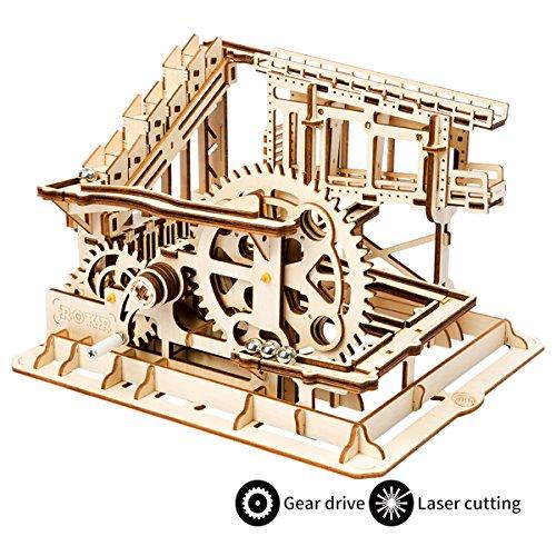 ROBOTIME 3D Wooden Craft Kits Brain Teaser Games Mechanical Gears Set Cog Coaster with Steel Balls Best Buliding Toys for Adutls & Kids by ROBOTIME
