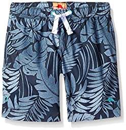 Tommy Bahama Little Boys\' Toddler Hawaiian Leaf Trunk, Black, 3T