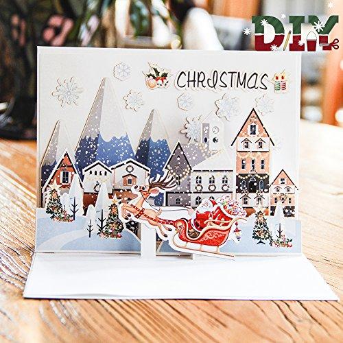 Paper Spiritz DIY Pop Up Christmas Card Kit - Holiday Birthday Card for Kids Dad Mom - Including DIY Components to be Pasted (Santa Ride) (Santa Holiday Card)