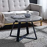 WE Furniture Rustic Farmhouse Round Metal Coffee Accent Table Living Room, 30 Inch, Grey Concrete
