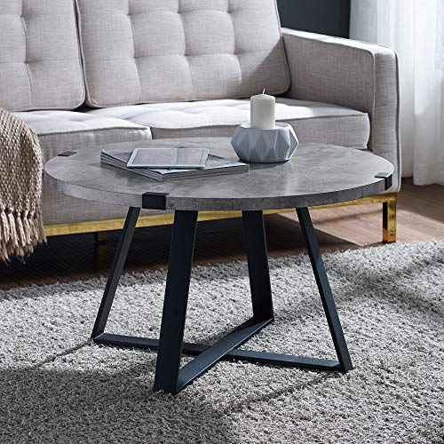 WE Furniture Rustic Farmhouse Round Metal Coffee Accent Table Living Room, 30 Inch, Grey Concrete (Metal Stone Table And Coffee)