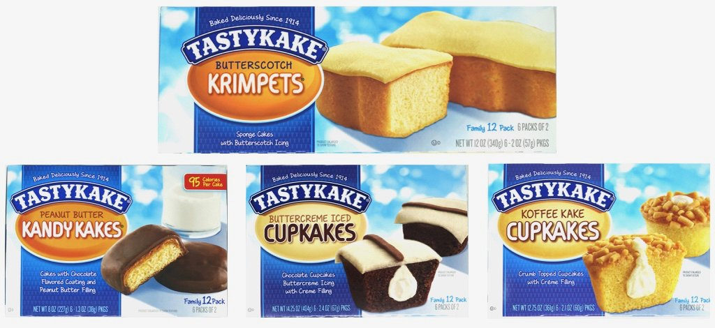 TastyKake Variety Pack! One box (12 count) each of: Tastykake Butterscotch Krimpets, Peanut Butter Candy Cakes, Cream Filled Coffee Cakes and Chocolate Cupcakes with Buttercream Icing!
