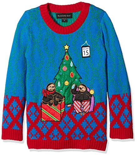 Blizzard Bay Little Boys' Tardy Sloths Light up, Blue/Red, 6 (Kids Ugly Christmas Sweater)