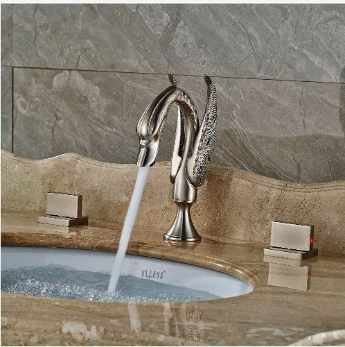 Gowe Bathroom 3pcs Brushed Nickle Sink Faucet Deck Mounted Mixer Tap Double Handles 2