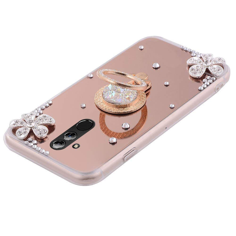 PHEZEN Huawei Mate 20 Pro Case Mirror Crystal Rhinestone Soft TPU Rubber Bumper Case Bling Diamond Glitter Makeup Mirror Back Case with Ring Stand Holder for Huawei Mate 20 Pro,Rose Gold