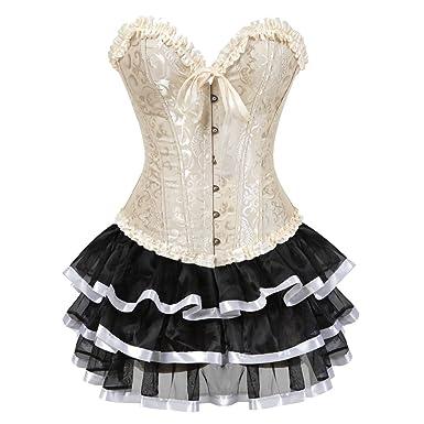 Grebrafan Steampunk Hochzeitskleid Korsett Corsage mit Multi Layer Spitzen  Rock  Amazon.de  Bekleidung 609d329658