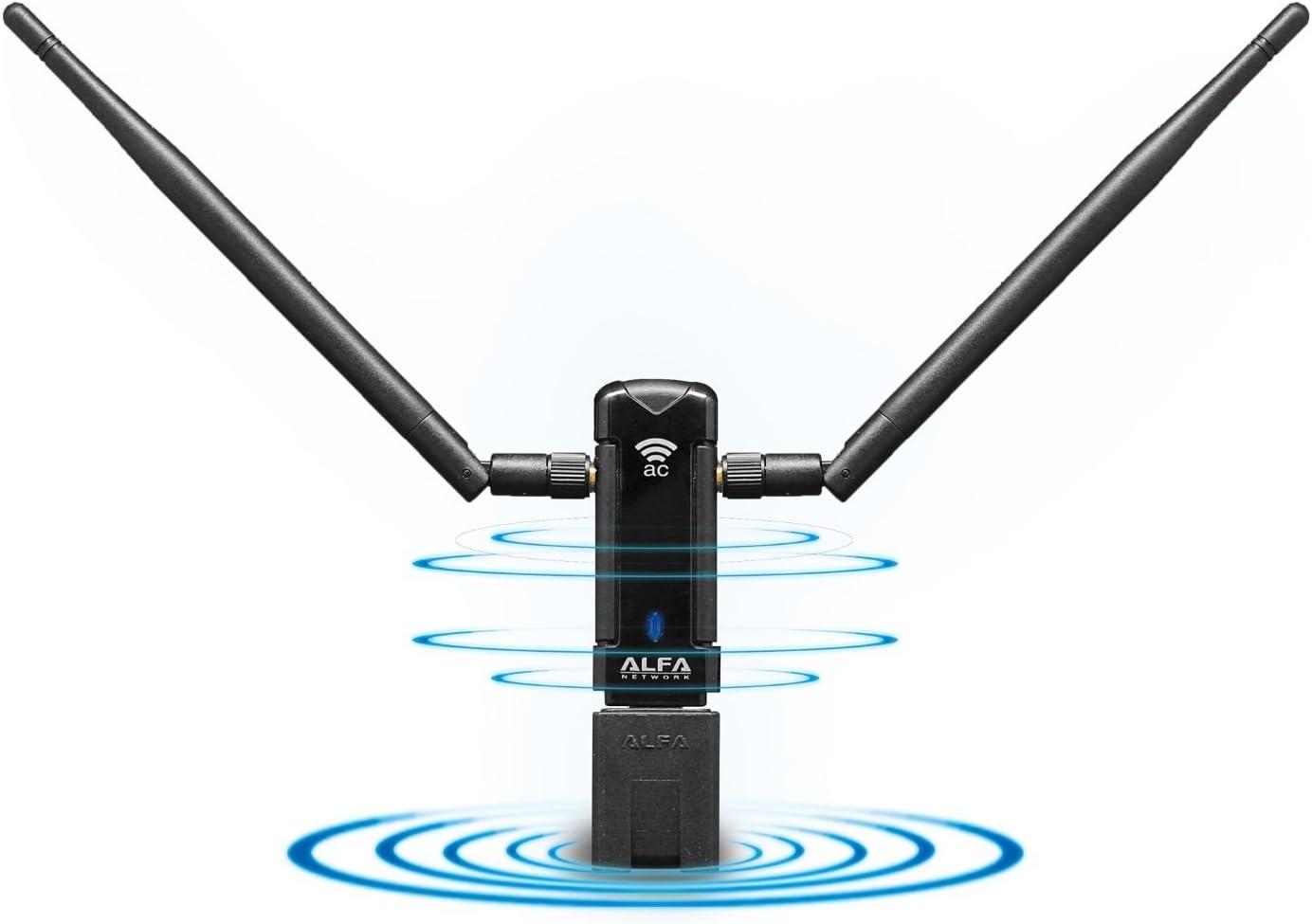 Alfa Network AWUS036AC - Adaptador de Red USB (WiFi, 2.4-5 GHz, 2 x Antenas)