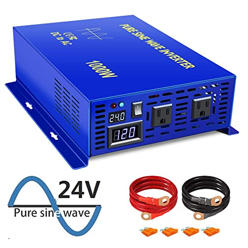 XYZ INVT 1000W Power Inverter 24V DC to 110V 120V AC with LED Display Dual AC Outlets for RV Truck Boat 1000W24V