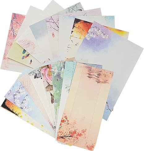16pcs Enveloppes 32pcs Papier A Lettres Enveloppe Motif Carte De Voeux Lettre D Invitation Pour Cadeaux Mariage Fête Réunion Style Chinois