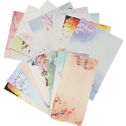 16 Sobres Vintage 32 Hojas Papel de Cartas Impresos Invitaciones Agradecimiento Cartas Tarjetas Regalo Fiesta Boda Cumpleaños