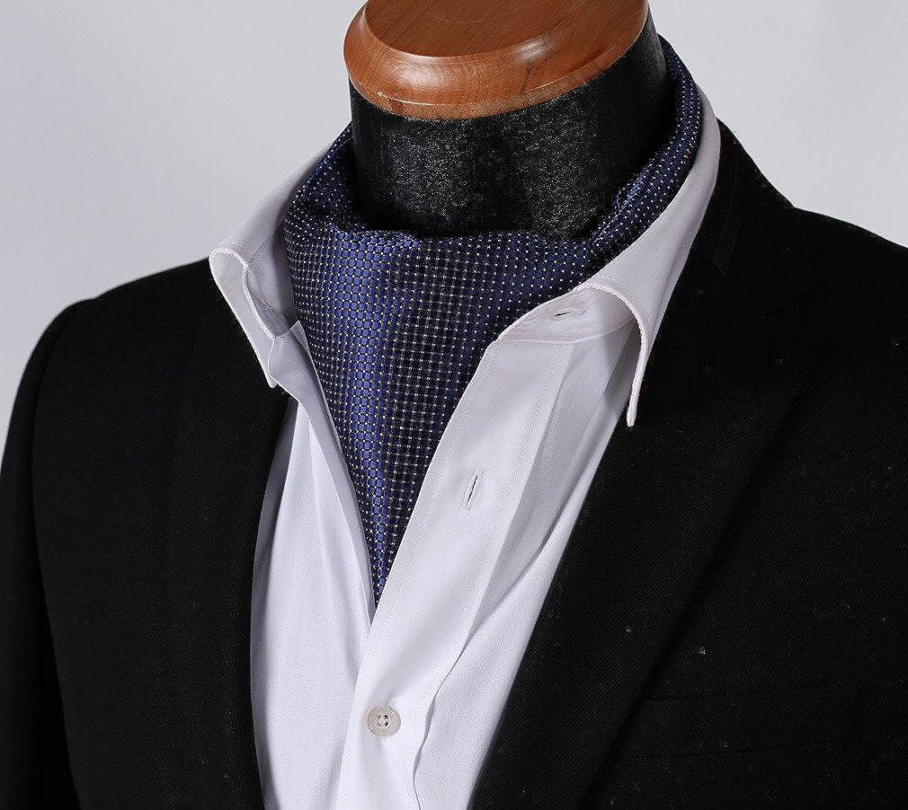 Mens Under Shirt Ascot Cravat Grey /& Purple Tartan Check