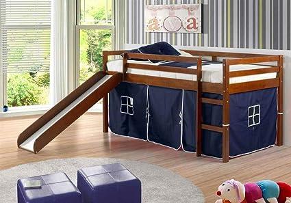 Amazoncom Donco Kids Twin Tent Loft With Slide And Slat Kits Light