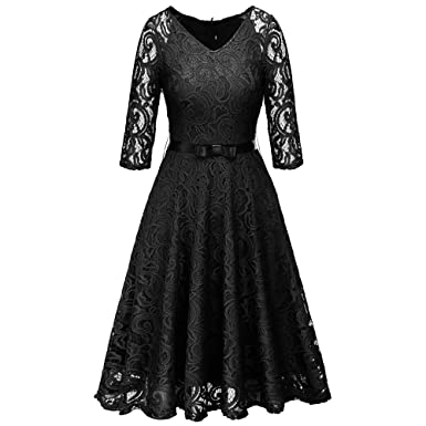 945da6bd8c3 Artkingdome Women s 1950s Retro Long Sleeves V Neck Bowknot Waist Lace  Cocktail Evening Dress S Black