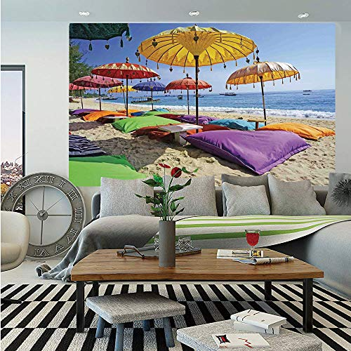 - SoSung Balinese Decor Huge Photo Wall Mural,Pristine Beach Bathed by The Bali Sandy Seashore Daytime Umbrellas Pillows Leisure,Self-Adhesive Large Wallpaper for Home Decor 108x152 inches,