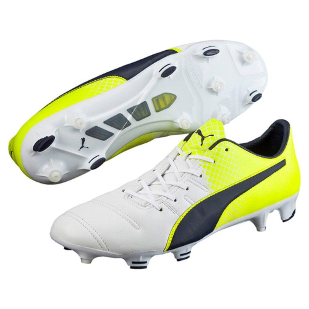 Puma EvoPower 1.3 Leder FG Football Stiefel - Weiß Peacoat Solar Yellow - Größe 8