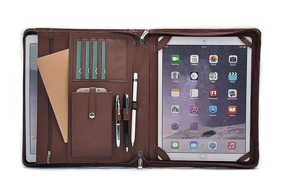 low priced a12aa 30703 Personalize iPad Pro Folio Case, Design Leather Organizer Portfolio for  12.9 inch iPad Pro,Black
