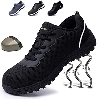 Git-up Mens Work Safety Steel Toe Shoes Non-Slip Puncture Proof Shoes Sneakers Breathable Lightweight Industrial & Construction Shoe: Shoes
