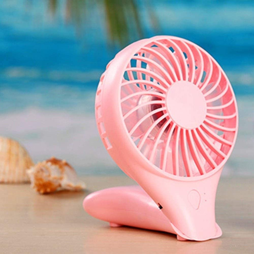 Color : White USB Rechargeable Fan with Portable Folding Two-Speed Wind Speed Table Fan Handheld Electric Fan