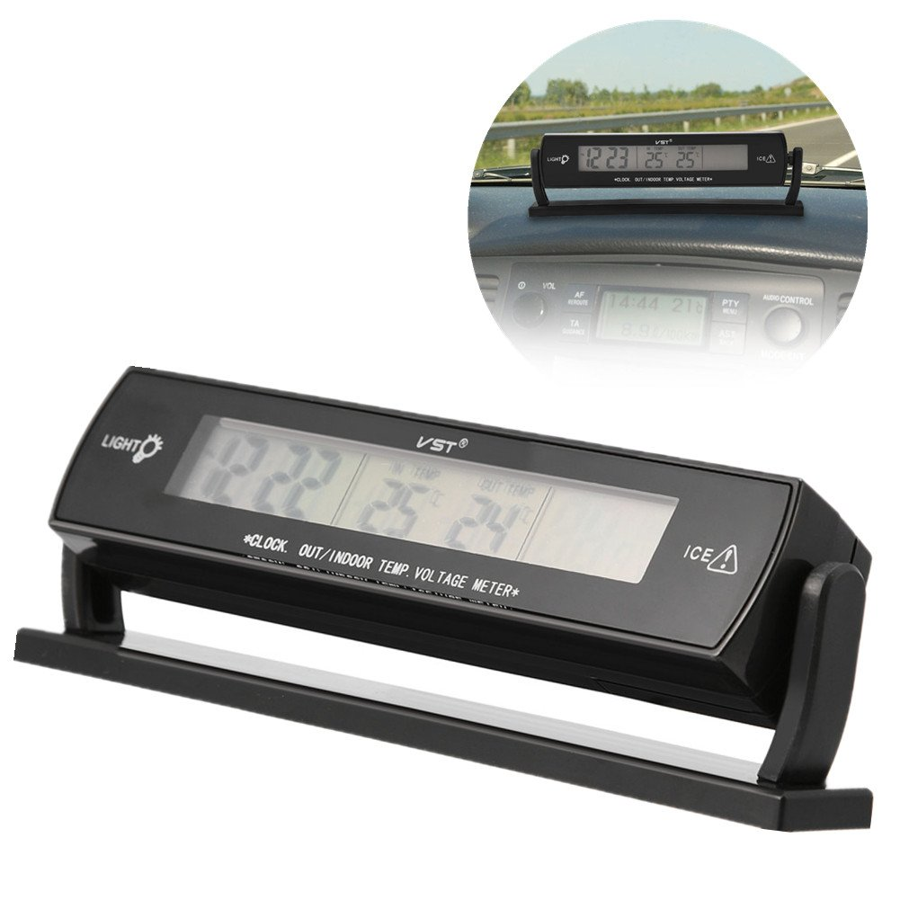 Zerone Termometro Auto Temperatura Auto, 12 V 24 V 2 in 1 Tester Termometro Auto con Supporto, Display Digitale LCD